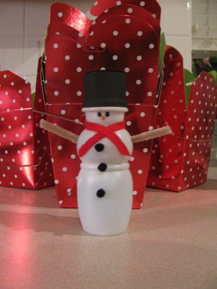 yogurt cup snowman