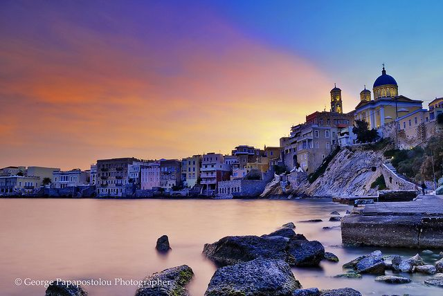 magic sunset - Ermoupoli by george papapostolou, via Flickr