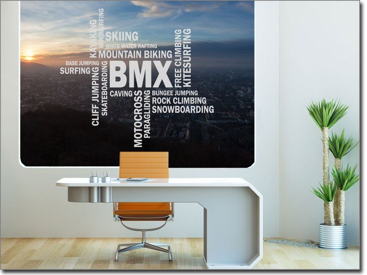 Wortwolke BMX als Glastattoo