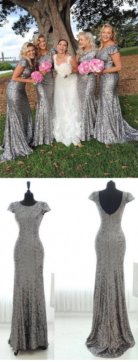 Silver Bridesmaid Dresses, Mermaid Bridesmaid Dress,Short Sleeve Bridesmaid Gowns, Backless Bridesmaid Dresses,Sequins Bridesmaid Dresses for Fall Wedding,Simple Wedding Party Dress