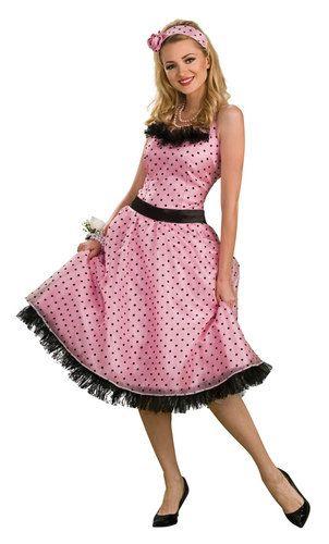 Polka Dot Prom 1950's Womens Costume includes: Dress, Headband  Waist sash