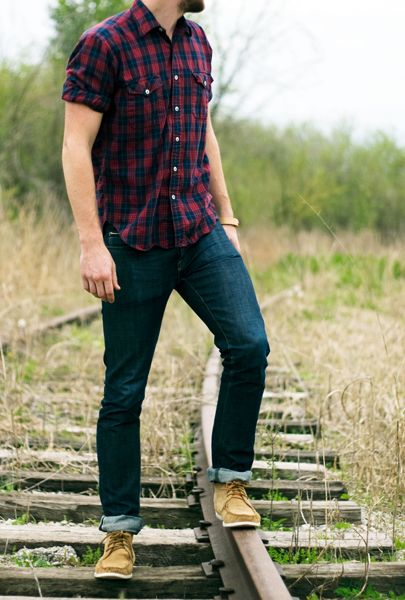 red and navy plaid shirt