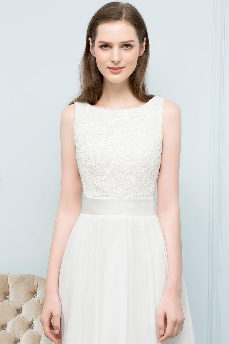 Elegante Weiße Hochzeitskleider Kurz Mit Spitze A Line