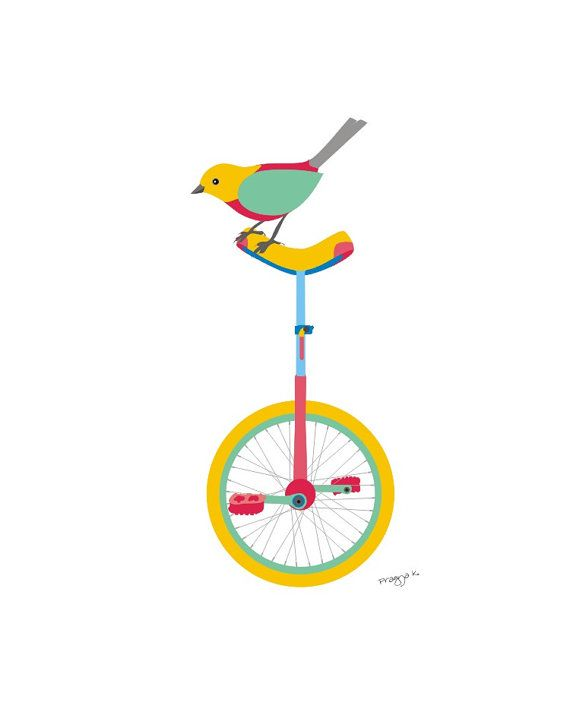 Bird art  Unicycle  Bird art print whimsical art by PragyaK, $20.00