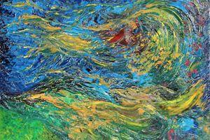 Tableau abstrait à l'huile sur toile - Méandres de l'inconscient - 61X50 cm - Peinture de Michaëlle Liefooghe, artiste-peintre