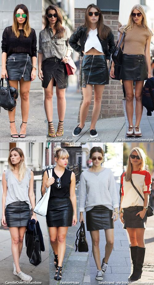Black leather skirts street style.