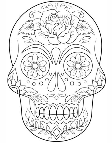 Sugar Skull with Flowers Coloring page from Day of the Dead category. Select from 20883 printable crafts of cartoons, nature, animals, Bible and many more.