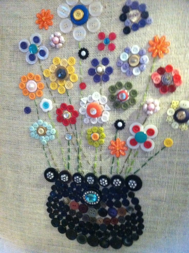 Button art on burlap-covered canvas | art ideas | Pinterest