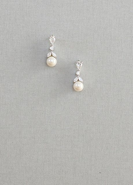 Leaf Shape, Diamante, Pearl Drop Earrings - Laure