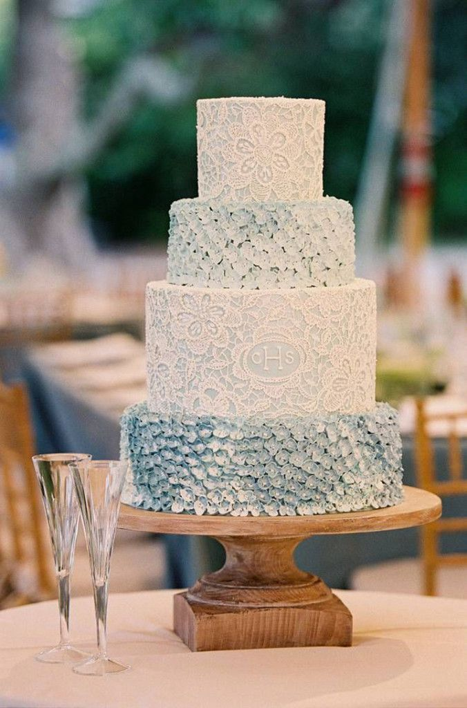 Beautiful soft blue wedding cake