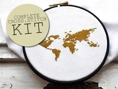 Kit de broderie cross stitch mappemonde Kit point par hallodribums
