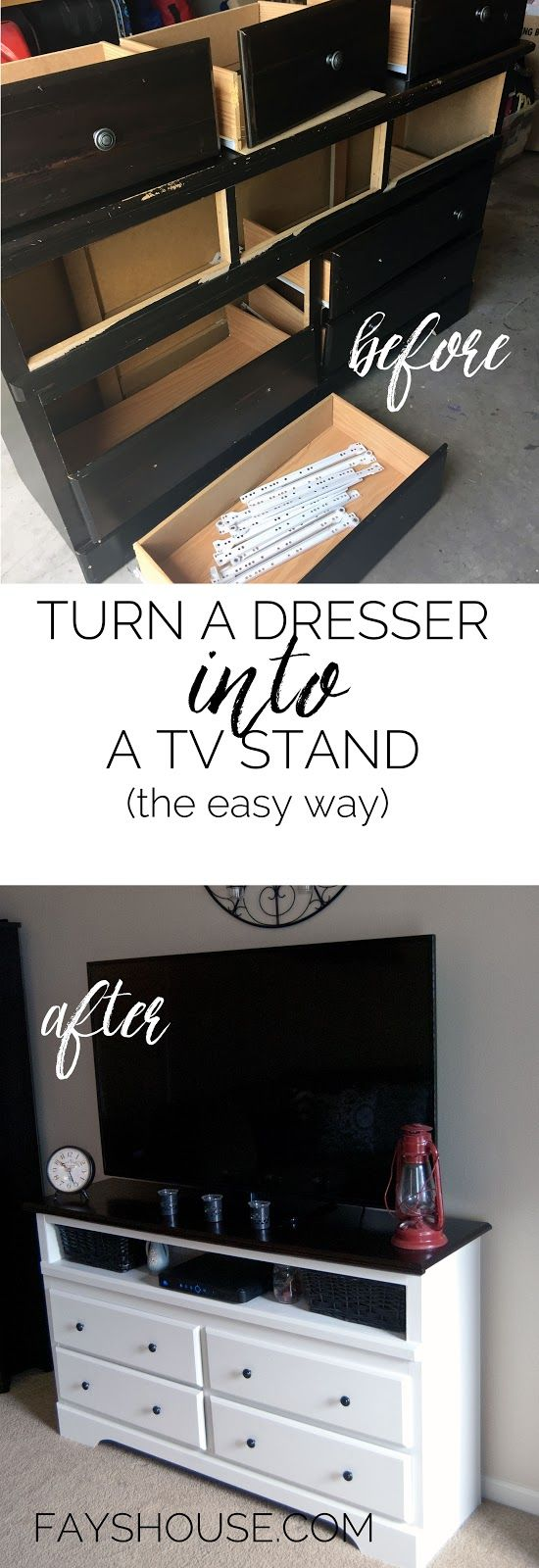 Fays House: Turn a dresser into a tv stand: the easy way