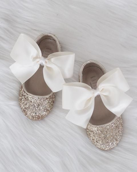 22a5fb864c4 GOLD Rock Glitter Maryjane Flats With IVORY Satin Bow | Flower Girls ...