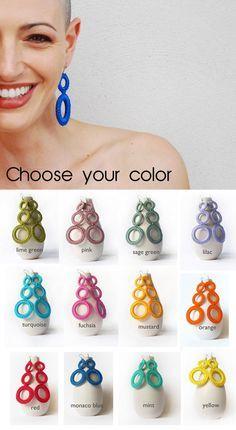 Fashion Creolen / Blue Cotton Hoops von AliquidTextileJewels   – hobbie