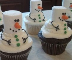 Marsh mellow snowmen on chocolate cupcakes