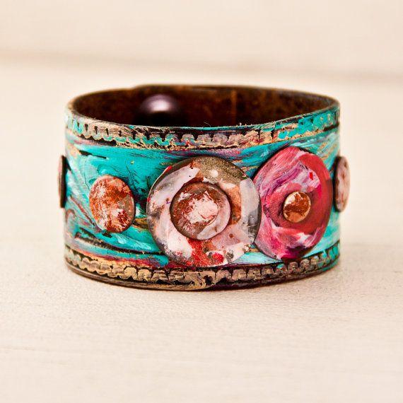 Upcycled Bracelet Gypsy Cuff Hippie Jewelry Leather Wristband