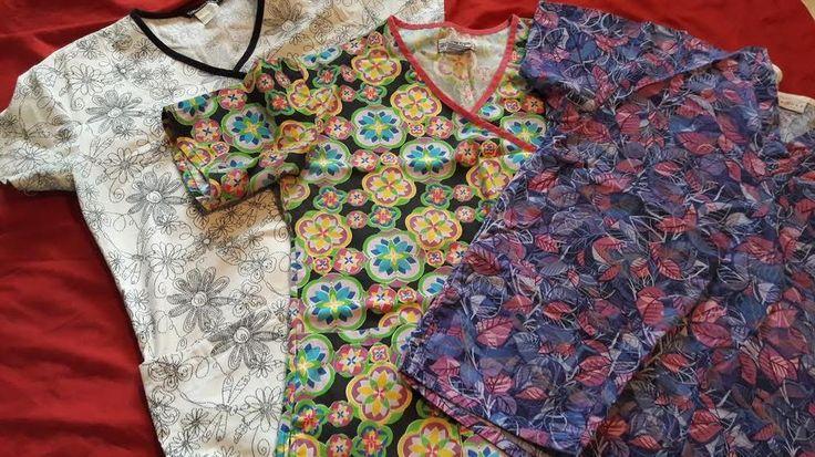 Uniform Scrubs, Tops, Womens, Size MEDIUM, Lot 3, Short Sleeve, Multi Color  #Peaches #scrubs #uniforms #womens #work #career #patterned