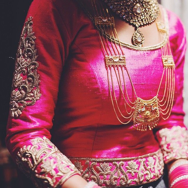 """the jewels : my mother's heirloom gold peacock rani haar paired with a custom gold kundan diamond polki neck piece ."""