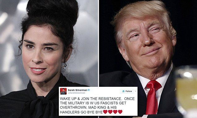 Comedian Sarah Silverman appeared to call for a military coup in a tweet Wednesday night, as protests were going on in Berkeley, California.