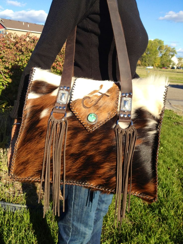 "Cowhide ""Custom Branded Tote"" from gowestdesigns.us."