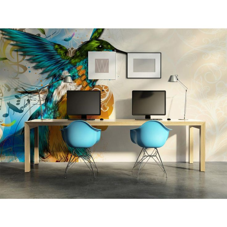 Questo uccello melodioso si abbinerà all'ambiente nel quale regnano le tonalità grigie. Perfetti accostamenti cromatici sulla carta da parati metteranno di buon umore tutta la famiglia :) #cartadaparati #cartedaparati #uccello#colorato #allegria  #artgeist