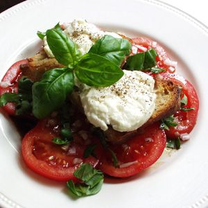tomatsalat med gratineret gedeost