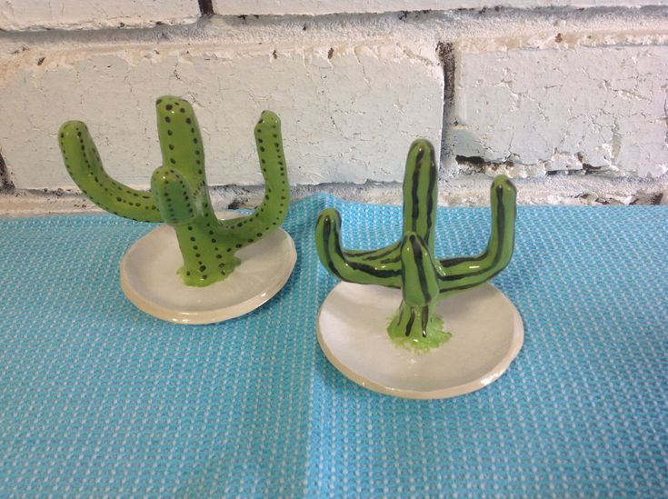 #handmade pottery #ceramics #cactus ring holders #underglaze