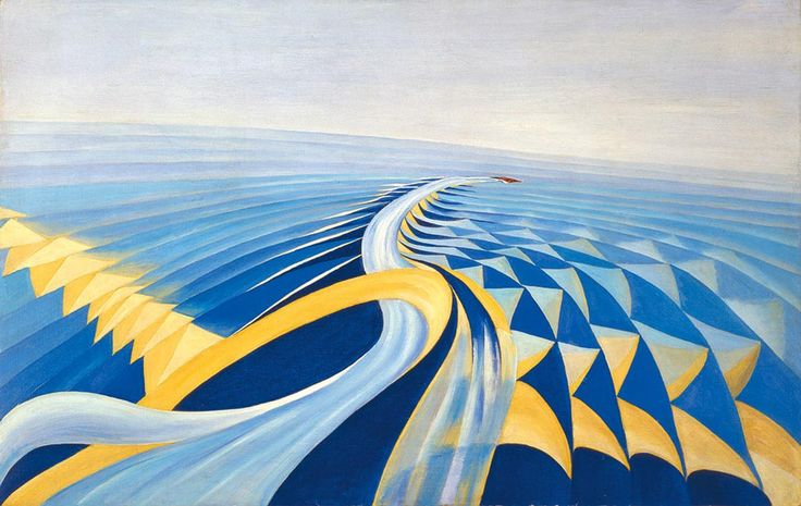 Benedetta (Benedetta Cappa Marinetti), Speeding Motorboat (Velocità di motoscafo), 1923–24. Oil on canvas, 70 x 100 cm. Galleria d'Arte Mode...
