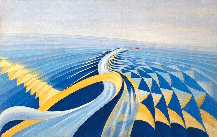 Benedetta (Benedetta Cappa Marinetti), Speeding Motorboat (Velocità di motoscafo), 1923–24. Oil on canvas, 70 x 100 cm. Galleria d'Arte Mode...
