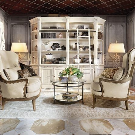 Athens French White Library With Bookcase