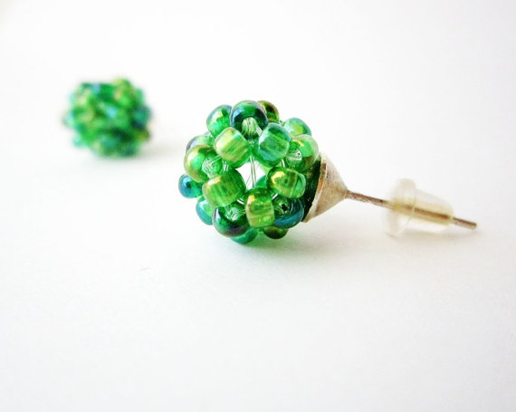 Green post earrings  Iridiscent green earrings studs  by Akamatra, $10.00
