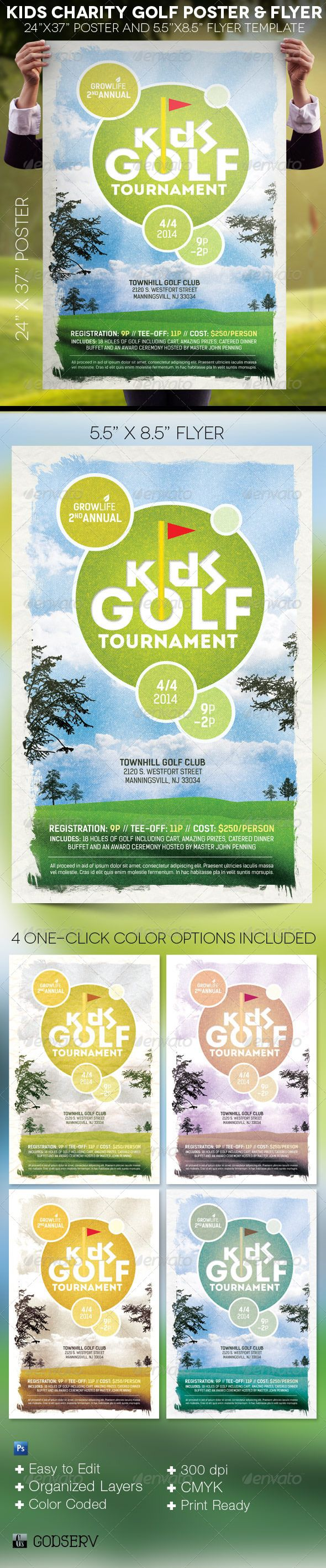 The Kids Charity Golf Poster and Flyer Template is for any sport club, charity organization and professional golf event. It uses retro colors and textures that will captivate your target audience. $6.00