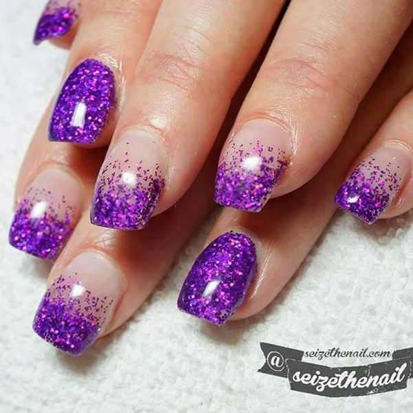 Trendy French tip Purple nail art design. Gear up with your favorite glitter polish to create this mystical and pretty looking nail art.