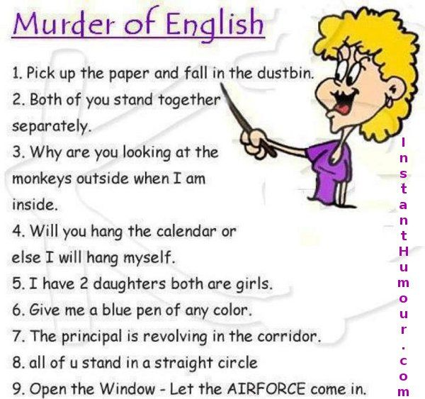 Witty One Line Quotes: Murder Of English - Instant Humour