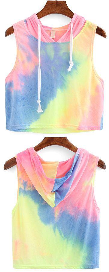 Rainbow Ombre Hooded Crop Top