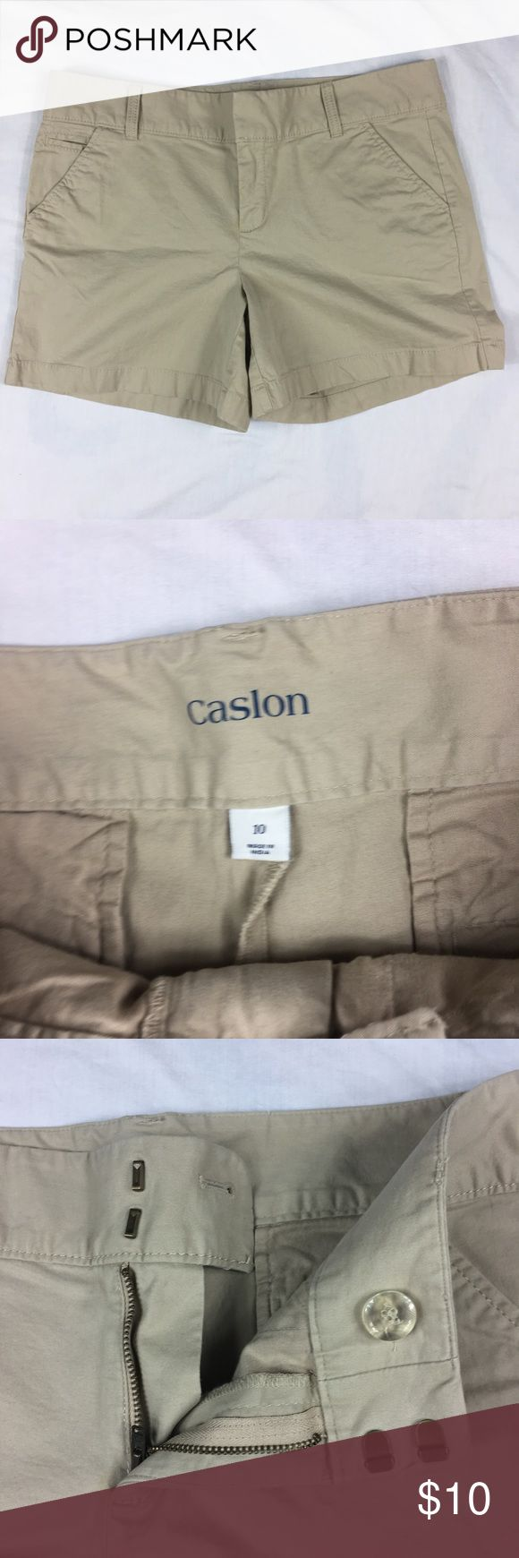 Caslon beige chino cotton shorts Caslon beige chino cotton shorts   Women's Size: 10   98% cotton, 2% spandex   Approx measurement: waist – 35 inches; inseam – 5 inches; rise – 9 ½ inches   Machine washable   Gently used  – see pictures Caslon Shorts