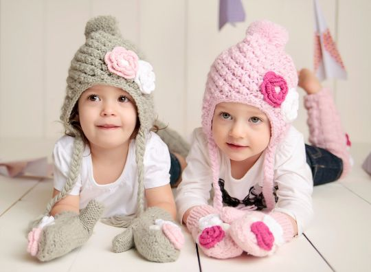 Set - Mitten and Hat Toddler Girl Winter Lined Snowbunny Hat