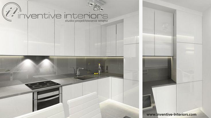 Projekt kuchni Inventive Interiors  biało szara kuchnia z   -> Kuchnia Czarno Siwa