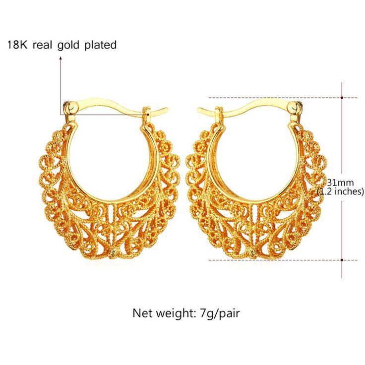 Pendientes Vintage Platinum / 18 K oro verdadero plateado mujeres venta de regalos de moda de las esposas del baloncesto ronda Fancy Hoop pendientes E360 en Pendientes de Aro de Joyería en AliExpress.com | Alibaba Group