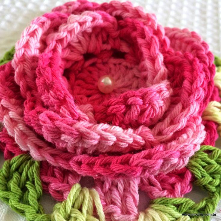 Flor roseta passo a passo | Croche.com.br                                                                                                                                                      Mais