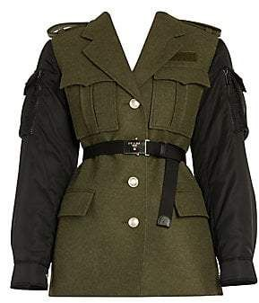 Prada Women's Loden Wool & Nylon Military Jacket