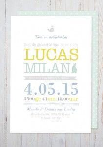 Geboortekaartje Lucas typografisch met konijntje mint blauw geel
