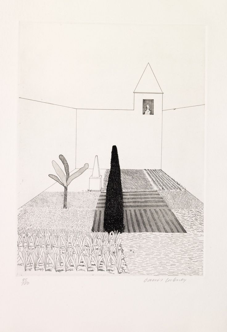 David Hockney (British, born 1937), Rapunzel Growing in the Garden, from Rapunzel in Six Fairy Tales from the Brothers Grimm, 1969, etching. © David Hockney