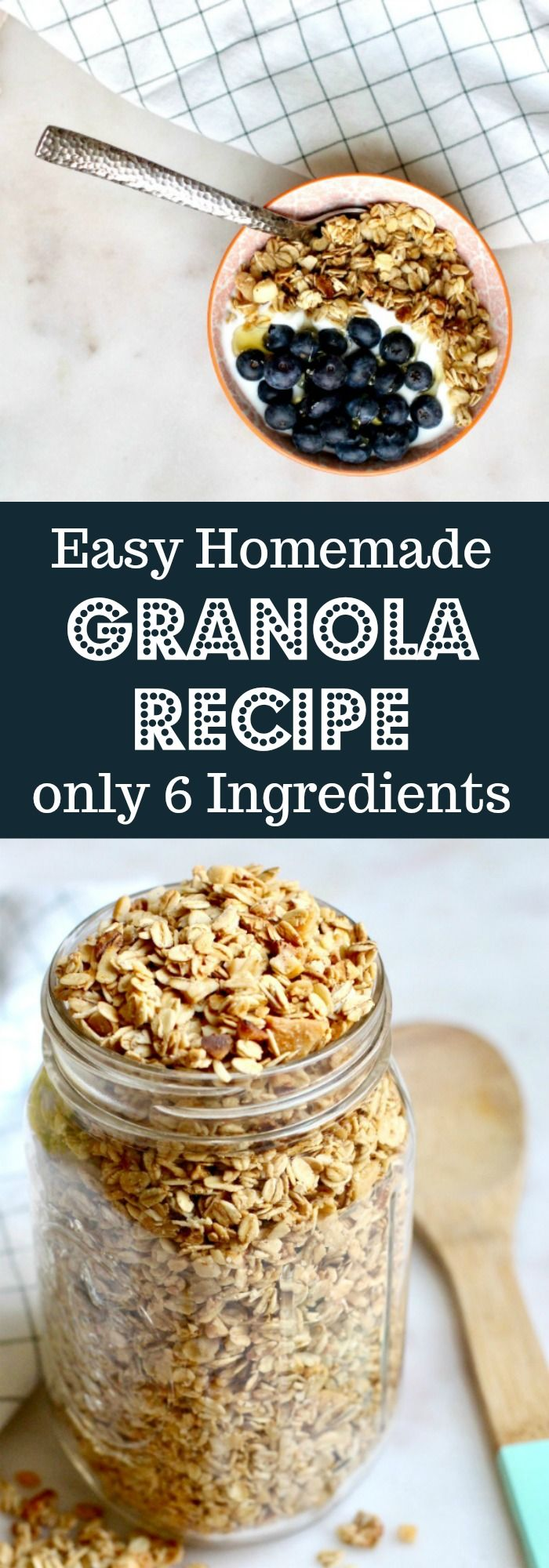 This healthy granola recipe is the perfect thing to make for easy breakfasts like parfaits and yogurt bowls. It is vanilla flavored, simple, uses maple to sweeten it and if you use the proper oats it is also gluten free. You can add any nuts but almond slices are my personal favorite. DIY Easy Homemade Granola Recipe  from Rainbow Delicious