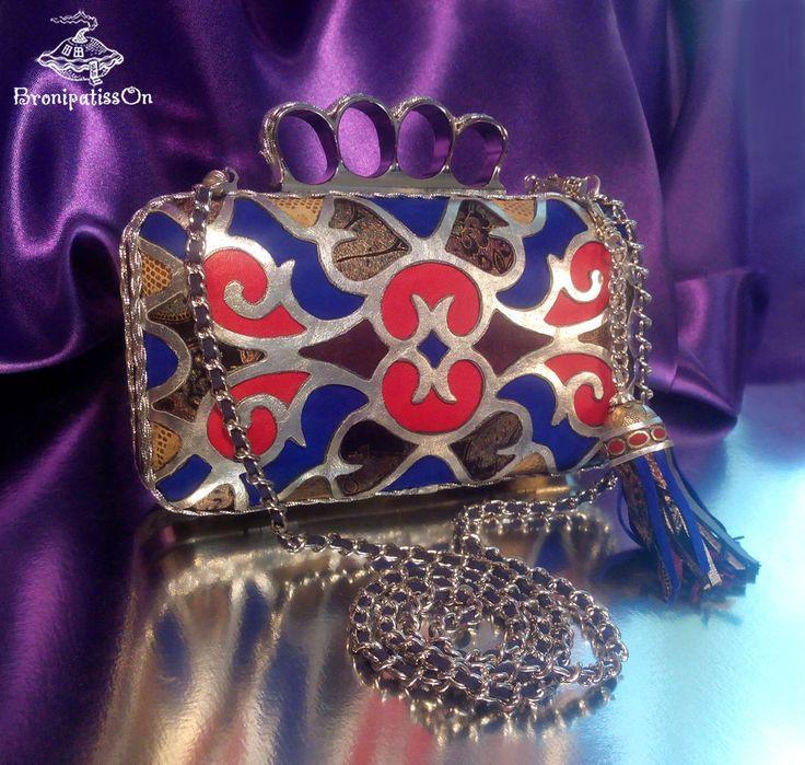 Купить Кожаный клатч в восточном стиле с кисточкой - орнамент, комбинированный, клатч, клатч ручной работы