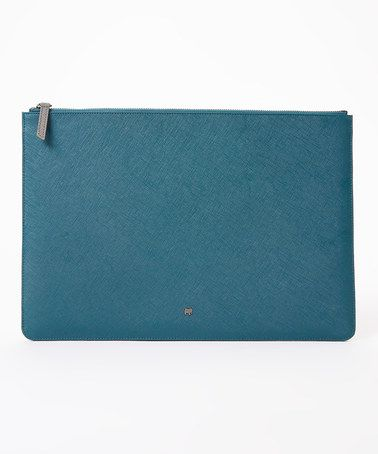 Loving this Teal Embossed Leather Laptop Pouch on #zulily! #zulilyfinds