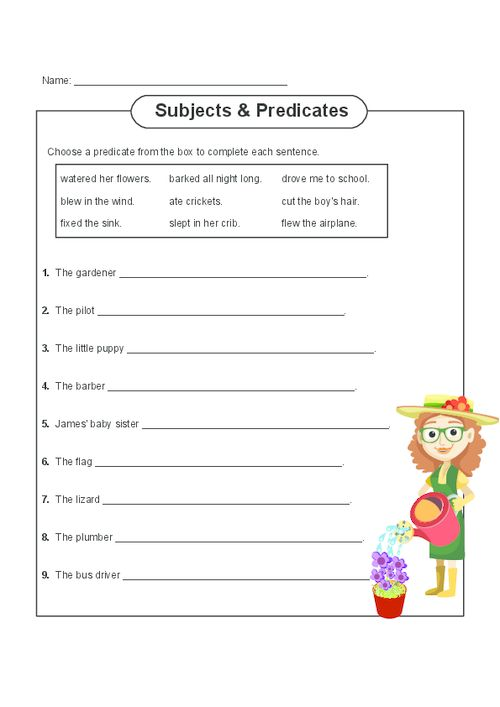 This free, printable worksheet that focuses on subjects and predicates gets children thinking logically about English and its grammar. This worksheet asks students to choose the correct predicate to match with the given subject. Answer sheet is also included.   Read more at http://kidspressmagazine.com/subject-and-predicate/worksheets/misc/subject-and-predicate-practice-2.html#Qq146pXzteAuPcv4.99  #grammar, #english, #worksheet, #subject, #predicate