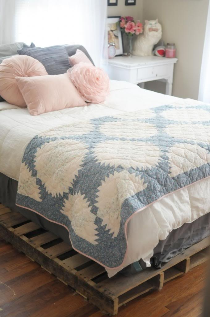 Kaelah Bee: Cottage Tour : Bedroom etc.- love the pallet platform bed and the grey, white, and pink theme.