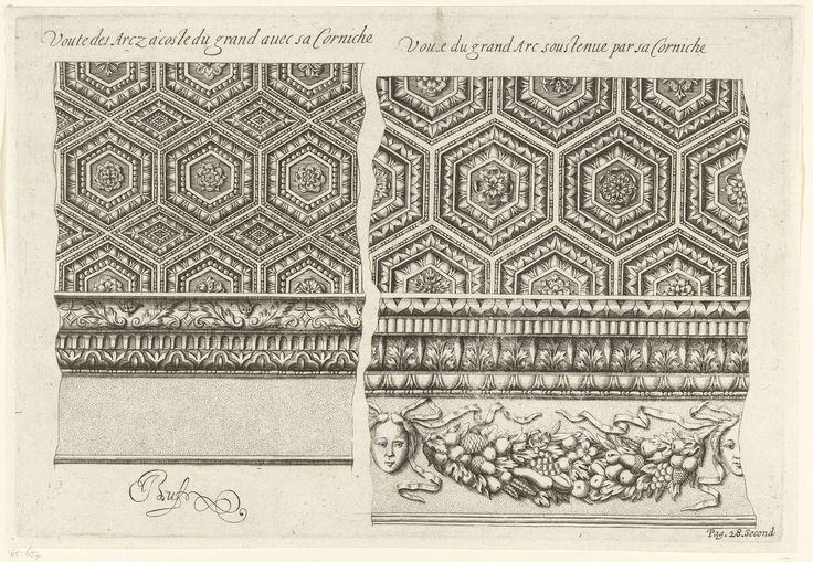 Anonymous | Details van gewelven van kleine bogen en grote boog van Arc de Triomphe te Orange, Anonymous, Theodorus Maire, 1639 | Rechtsonderin staat: Pag. 28. Second. Blad uit serie van 12 bladen.