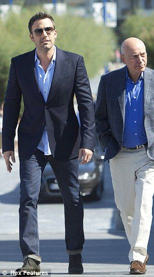 In San Sabastian Ben, who wore and suit jacket and jeans combo, attended the photo-call with Alan Arkin